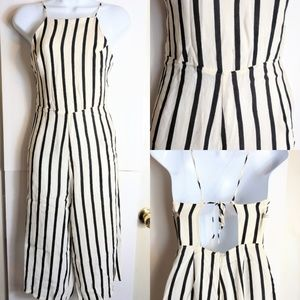 Forever 21 cream & white stripe jumpsuit sz Sm